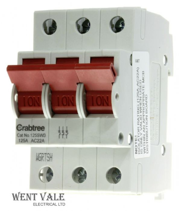 Crabtree Loadstar - 125SW3 - 125a  Triple Pole Switch Disconnector NEW